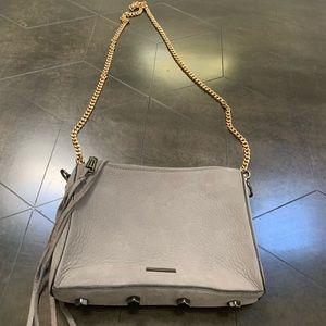Rebecca Minkoff grey suede handbag or clutch.